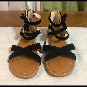 Girls Black Sandals Size 3